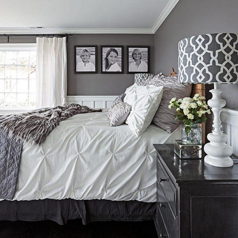 Спальня в бело серых цветах фото