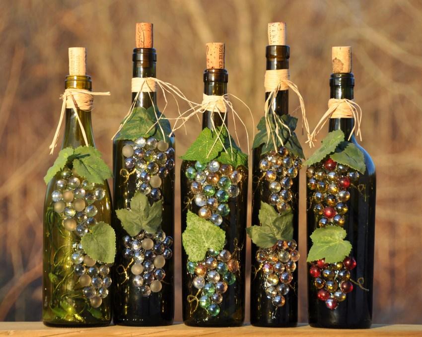 Декорирование стеклянных бутылок фото 105