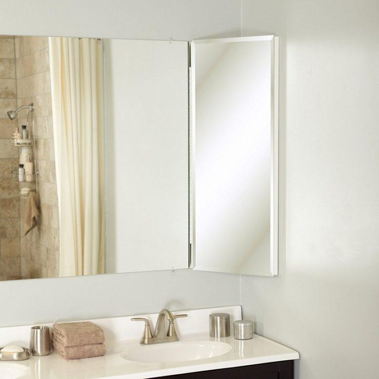 Bathroom corner mirror cabinet