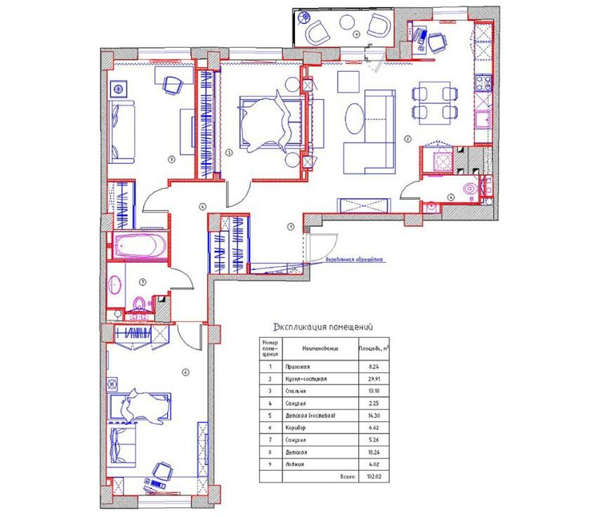 Схема 2 комнатной хрущевки фото 855
