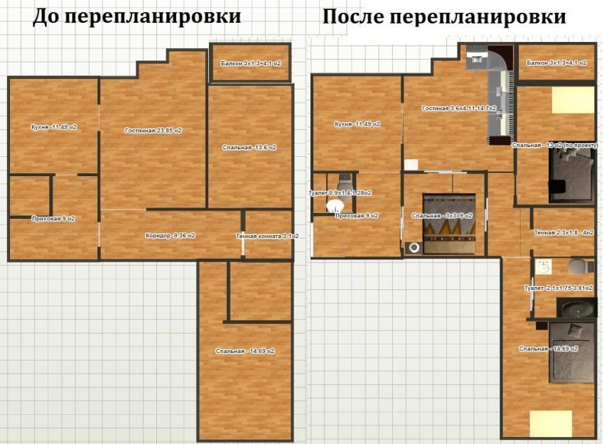 планировки однокомнатной хрущевки с размерами (14
