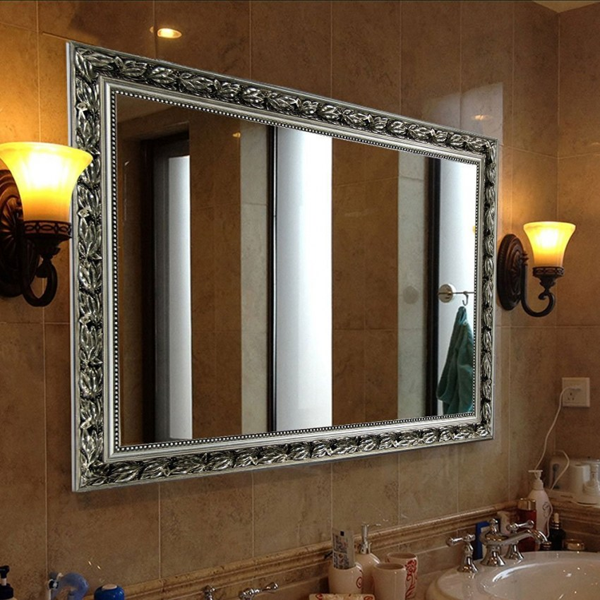 Silver bathroom mirror